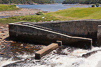 A fish ladder is pictured in Somesville on Mount Desert Island in Maine Wednesday June 19, 2013. A fish ladder, also known as a fishway, fish pass or fish steps, is a structure to facilitate diadromous fishes' natural migration.