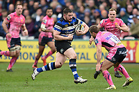 Shaun Knight of Bath Rugby takes on the Exeter Chiefs defence. Anglo-Welsh Cup Final, between Bath Rugby and Exeter Chiefs on March 30, 2018 at Kingsholm Stadium in Gloucester, England. Photo by: Patrick Khachfe / Onside Images