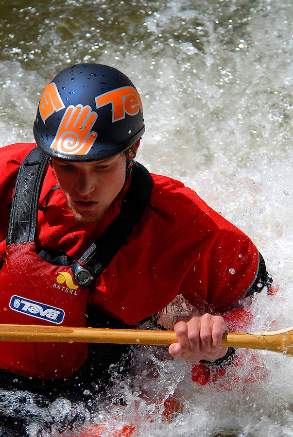 Close-up of whitewater kayaker, Gore River, Vail Colorado