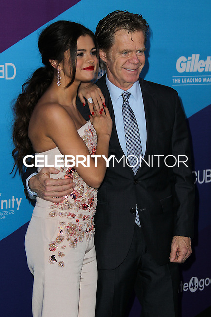 CULVER CITY, LOS ANGELES, CA, USA - FEBRUARY 27: Selena Gomez, William H. Macy at the 1st Annual unite4:humanity Presented by unite4:good and Variety held at Sony Pictures Studios on February 27, 2014 in Culver City, Los Angeles, California, United States. (Photo by Xavier Collin/Celebrity Monitor)