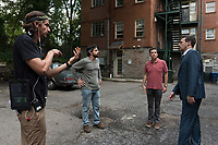 Tag (2018)  <br /> Director JEFF TOMSIC, JAKE JOHNSON, ED HELMS and JON HAMM on the set of<br /> *Filmstill - Editorial Use Only*<br /> CAP/MFS<br /> Image supplied by Capital Pictures