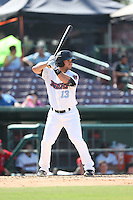 Tyler Palmer (13) of the Inland Empire 66ers bats during a game against the Lake Elsinore Storm at San Manuel Stadium on May 27, 2015 in San Bernardino, California. Lake Elsinore defeated Inland Empire, 12-9. (Larry Goren/Four Seam Images)