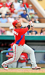 9 March 2011: Philadelphia Phillies' catcher Dane Sardinha in action during a Spring Training game against the Detroit Tigers at Joker Marchant Stadium in Lakeland, Florida. The Phillies defeated the Tigers 5-3 in Grapefruit League play. Mandatory Credit: Ed Wolfstein Photo