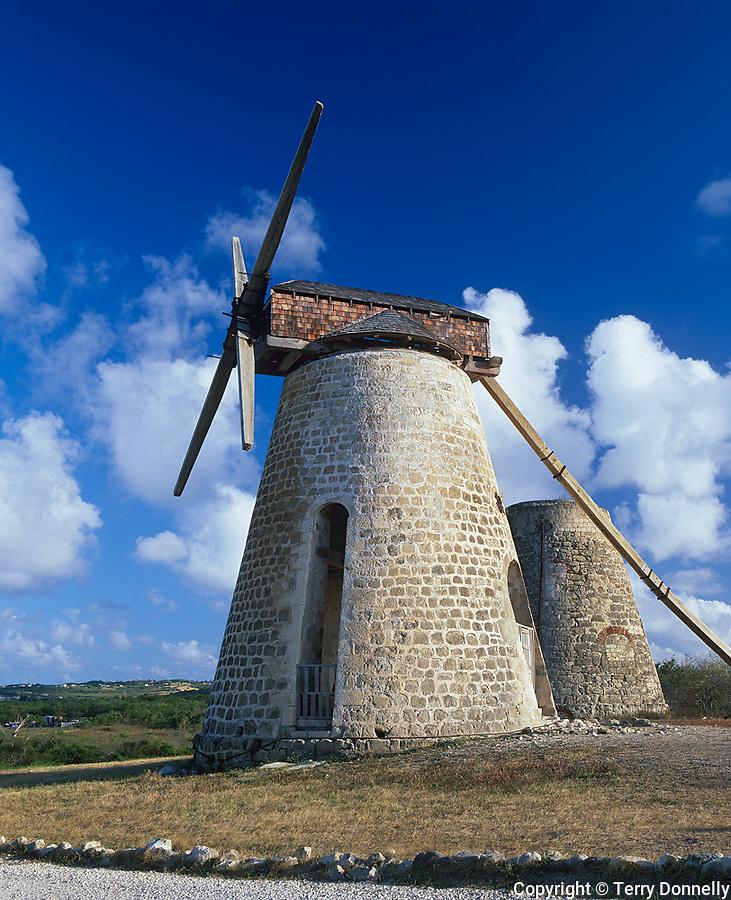 Antigua, West Indies<br /> Restored windmill at Betty's Hope, the Codrington sugar plantation built in 1650 -<br /> Caribbean Leeward Islands
