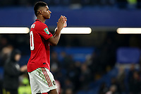 30th October 2019; Stamford Bridge, London, England; English Football League Cup, Carabao Cup, Chelsea Football Club versus Manchester United; Marcus Rashford of Manchester Utd applauds the fans after 1-2 win - Strictly Editorial Use Only. No use with unauthorized audio, video, data, fixture lists, club/league logos or 'live' services. Online in-match use limited to 120 images, no video emulation. No use in betting, games or single club/league/player publications