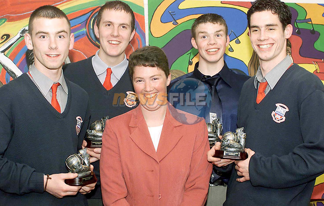 Catherine McGinley with sports achievement award winners at the Ardee Community School annual award ceremony held in the Bohemian Centre, Ardee. Included are (L-R) Darren Clarke, Alan Fedigan, Ronan Valentine and Daniel Woods