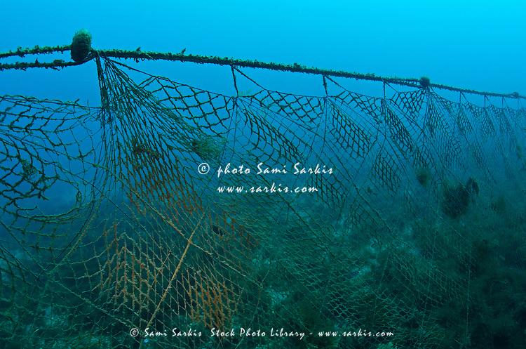 Old fishing net lost on ocean floor, Mediterranean sea, Marseille, France