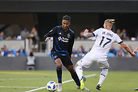 San Jose, CA - Saturday August 25, 2018: Danny Hoesen, Marcel de Jong during a Major League Soccer (MLS) match between the San Jose Earthquakes and Vancouver Whitecaps FC at Avaya Stadium.
