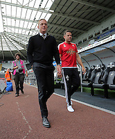 Pictured: Manager Garry Monk of Swansea arrives Sunday 30 August 2015<br /> Re: Premier League, Swansea v Manchester United at the Liberty Stadium, Swansea, UK