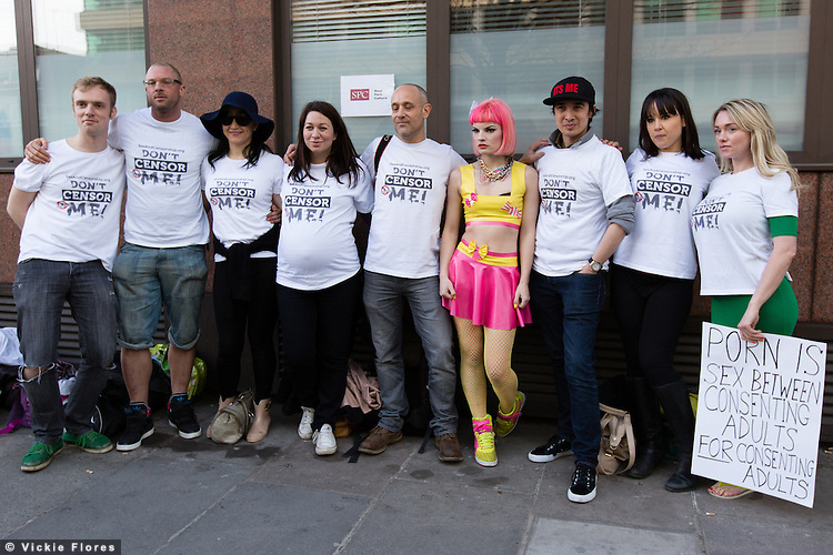Demonstrators from Sex & Censorship protests outside the feminist Stop Porn Culture (SPC) event held in Wedge House in Southwark, London on 15 March 2014, which they believe aims to censor the freedom of sexual expression in the UK.