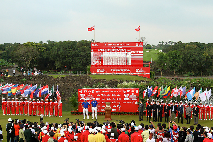 Gary Woodland and Matt Kuchar of USA at the closing ceremony of the Omega Mission Hills World Cup played at The Blackstone Course, Mission Hills Golf Club on November 27th in Haikou, Hainan Island, China.( Picture Credit / Phil Inglis )
