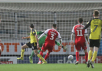 Burton Albion's Ryan Edwards  scores his sides first goal   beating Fleetwood Town's Alex Cairns<br /> <br /> Photographer Mick Walker/CameraSport<br /> <br /> The EFL Sky Bet League One - Burton Albion v Fleetwood Town - Saturday 11th January 2020 - Pirelli Stadium - Burton upon Trent<br /> <br /> World Copyright © 2020 CameraSport. All rights reserved. 43 Linden Ave. Countesthorpe. Leicester. England. LE8 5PG - Tel: +44 (0) 116 277 4147 - admin@camerasport.com - www.camerasport.com