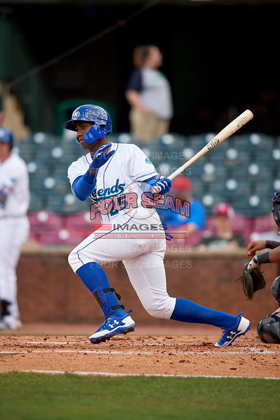 Lexington Legends right fielder Seuly Matias (25) follows through on a swing during a game against the Rome Braves on May 23, 2018 at Whitaker Bank Ballpark in Lexington, Kentucky.  Rome defeated Lexington 4-1.  (Mike Janes/Four Seam Images)