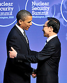 United States President Barack Obama welcomes President Lee Myung-bak of South Korea to the Nuclear Security Summit at the Washington Convention Center, Monday, April 12, 2010 in Washington, DC. .Credit: Ron Sachs / Pool via CNP