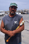 ITALY, Sicily, Egedian island Favignana, La Mattanza, traditional fishing of bluefin Tuna fish, Rocco with his hook
