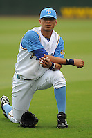 July 11, 2008: Outfielder Gorkys Hernandez (5) of the Myrtle Beach Pelicans, Class A affiliate of the Atlanta Braves, in a game against the Salem Avalanche at BB&T Coastal Field in Myrtle Beach, S.C. Photo by:  Tom Priddy/Four Seam Image