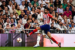 Sergio Ramos of Real Madrid (L) battles for the ball with Diego Costa of Atletico de Madrid (R) during their La Liga  2018-19 match between Real Madrid CF and Atletico de Madrid at Santiago Bernabeu on September 29 2018 in Madrid, Spain. Photo by Diego Souto / Power Sport Images