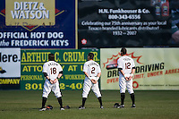 Chris Amador (18), Danny Figueroa (2) and Brandon Tripp (12) during the National Anthem at Harry Grove Stadium in Frederick, MD, Monday July 14, 2008. (Photo by Brian Westerholt / Four Seam Images)