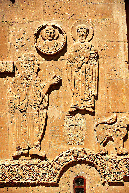 Bas Releif sculptures with scenes from the Bible on the outside of the 10th century Armenian Orthodox Cathedral of the Holy Cross on Akdamar Island, Lake Van Turkey 23