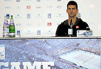Novak Djokovic of Serbia speaks to the press at Media Day before the start of the ATP World Tour Finals, The O2, London, 2015