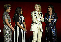 LAS VEGAS, NV - APRIL 24: (L-R) Actors Sarah Paulson, Mindy Kaling, Cate Blanchett, Sandra Bullock onstage during the Warner Bros. Pictures presentation at CinemaCon 2018 at The Colosseum at Caesars Palace on April 24, 2018 in Las Vegas, Nevada. (Photo by Frank Micelotta/PictureGroup)