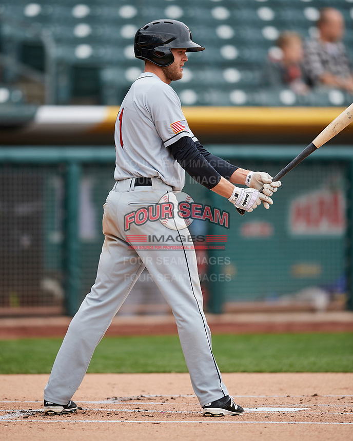 Nick Buss (11) of the El Paso Chihuahuas at bat against the Salt Lake Bees in Pacific Coast League action at Smith's Ballpark on April 30, 2017 in Salt Lake City, Utah.   El Paso defeated Salt Lake 12-3. This was Game 2 of a double-header originally scheduled on April 28, 2017.(Stephen Smith/Four Seam Images)