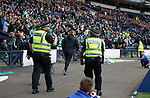 Neil Lennon running around as he celebrates Hibs' equaliser