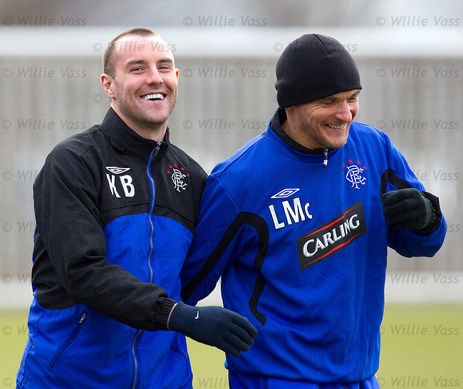 Kris Boyd and Lee McCulloch enjoy some team bonding at training
