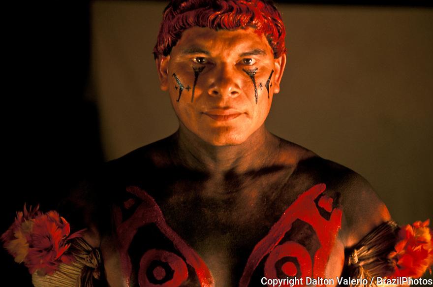 Portrait of a Kalapalo Indigenous People, Xingu, Amazon rain forest, Brazil.