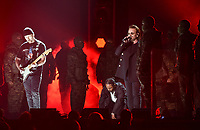 NEW YORK - JANUARY 28: Kendrick Lamar and Bono appear on the 60th Annual Grammy Awards at Madison Square Garden on January 28, 2018 in New York City. (Photo by Frank Micelotta/PictureGroup)