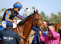 ARCADIA, CA April 7: Beau Recall (IRE) and Joel Rosario after the Royal Heroine (Grade II) on April 7 at Santa Anita Park in Arcadia, CA (Photo by Chris Crestik/ Eclipse Sportswire/ Getty Images)
