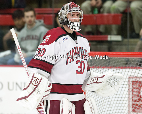 Raphael Girard (Harvard - 30) - The Harvard University Crimson defeated the visiting Bentley University Falcons 3-0 on Saturday, October 26, 2013, in Harvard's season opener at Bright-Landry Hockey Center in Cambridge, Massachusetts.