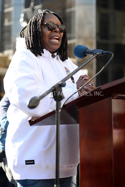 www.acepixs.com<br /> January 20, 2018  New York City<br /> <br /> Whoopi Goldberg on stage speaking to crowds at the Women's March on January 20, 2018 in New York City.<br /> <br /> Credit: Kristin Callahan/ACE Pictures<br /> <br /> Tel: 646 769 0430<br /> Email: info@acepixs.com