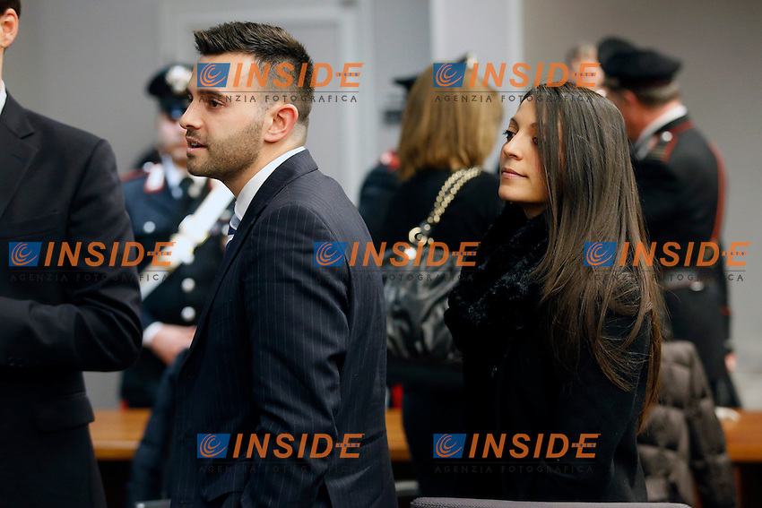 Family members of murdered British student Meredith Kercher, brother Lyle (L) and sister Stephanie (R), during the retrial session announcing the verdict on Amanda Knox of the U.S. and Raffaele Sollecito of Italy in Florence January 30, 2014.<br /> The court sentenced Amanda Knox to 28 O years in prison and Raffaele Sollecito to 25 years for the murder of Meredith Kercher in 2007. <br /> Florence 30/01/2014 <br /> Foto Insidefoto