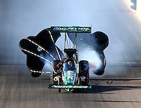 Feb 27, 2016; Chandler, AZ, USA; NHRA top fuel driver Leah Pritchett during qualifying for the Carquest Nationals at Wild Horse Pass Motorsports Park. Mandatory Credit: Mark J. Rebilas-USA TODAY Sports