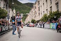 Sho Hatsuyama (JAP/Nippo-Vini Fantini) missing a leg at the race start of stage 6 in Cassino...<br /> <br /> Stage 6: Cassino to San Giovanni Rotondo (233km)<br /> 102nd Giro d'Italia 2019<br /> <br /> ©kramon