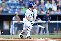 Asheville Tourists Max George (22) swings at a pitch during a game against the Charleston RiverDogs at McCormick Field on August 16, 2019 in Asheville, North Carolina. The Tourists defeated the RiverDogs 12-3. (Tony Farlow/Four Seam Images)