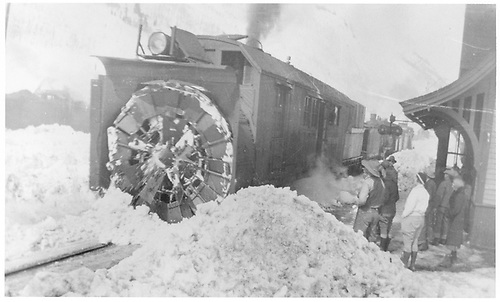 Blade end view of RGS rotary #2 with its train stopped at the Rico depot.<br /> RGS  Rico, CO  Taken by Mollette, Erskine (Rex) - ca. 1921