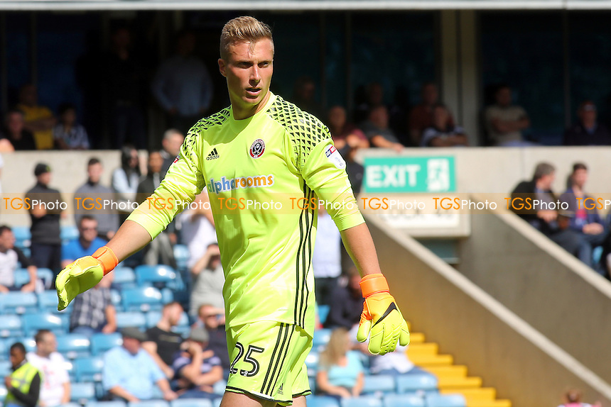 Sheffield United goalkeeper, Simon Moore, a recent signing from Cardiff City during Millwall vs Sheffield United, EFL League 1 Football at The Den on 20th August 2016