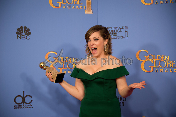 """After winning the category of BEST PERFORMANCE BY AN ACTRESS IN A TELEVISION SERIES – COMEDY OR MUSICAL for her role in """"Crazy Ex-Girlfriend,"""" actress Rachel Bloom poses backstage in the press room with her Golden Globe Award at the 73rd Annual Golden Globe Awards at the Beverly Hilton in Beverly Hills, CA on Sunday, January 10, 2016. Photo Credit: HFPA/AdMedia"""
