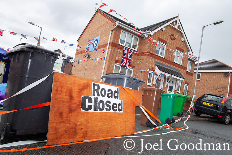 © Joel Goodman - 07973 332324 . 03/06/2012 . Manchester , UK . Makeshift road closed sign at Brackenlea Drive , Blackley as streets are closed for street parties for the Queen's Diamond Jubilee celebrations . Photo credit : Joel Goodman