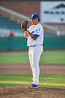 Gregorio Sequera (56) of the Ogden Raptors delivers a pitch to the plate against the Missoula Osprey at Lindquist Field on July 12, 2018 in Ogden, Utah. Missoula defeated Ogden 11-4. (Stephen Smith/Four Seam Images)
