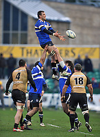 Nick Koster rises high to win lineout ball. Amlin Challenge Cup match, between Bath Rugby and Bucharest Wolves on January 19, 2013 at the Recreation Ground in Bath, England. Photo by: Patrick Khachfe / Onside Images