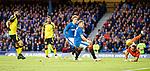 Goalkeeper Sebastian Flauss saves from Martyn Waghorn