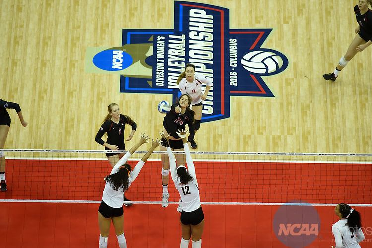 COLUMBUS, OH - DECEMBER 17:  Audriana Fitzmorris (24) of Stanford University hits a kill against the University of Texas during the Division I Women's Volleyball Championship held at Nationwide Arena on December 17, 2016 in Columbus, Ohio.  Stanford defeated Texas 3-1 to win the national title. (Photo by Jamie Schwaberow/NCAA Photos via Getty Images)