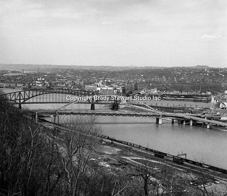 Pittsburgh PA:  View of the Point Bridges from Mount Washington - 1962