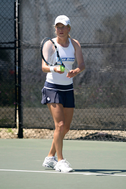 SAN DIEGO, CA - APRIL 19:  Alexandra Demidova of the USD Toreros during day three of the West Coast Conference Tennis Championships on April 19, 2009 at the Barnes Tennis Center in San Diego, California.
