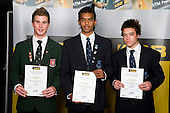 Boys Football finalists Joe Dawkins, Jonathan Raj & Dakota Lucas. ASB College Sport Young Sportperson of the Year Awards 2008 held at Eden Park, Auckland, on Thursday November 13th, 2008.