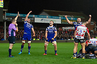 Elliott Stooke, Nahum Merigan and Jack Davies of Bath Rugby celebrate. Premiership Rugby Cup match, between Gloucester Rugby and Bath Rugby on October 11, 2019 at Kingsholm Stadium in Gloucester, England. Photo by: Patrick Khachfe / Onside Images