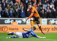 Wolverhampton Wanderers' Matt Doherty has his shot blocked Birmingham City's Michael Morrison<br /> <br /> Photographer Ashley Crowden/CameraSport<br /> <br /> The EFL Sky Bet Championship - Wolverhampton Wanderers v Birmingham City - Sunday 15th April 2018 - Molineux - Wolverhampton<br /> <br /> World Copyright &copy; 2018 CameraSport. All rights reserved. 43 Linden Ave. Countesthorpe. Leicester. England. LE8 5PG - Tel: +44 (0) 116 277 4147 - admin@camerasport.com - www.camerasport.com